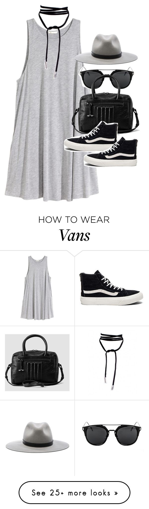"""Outfit with a jersey dress and Vans"" by ferned on Polyvore featuring H&M, rag & bone, AllSaints and Vans"