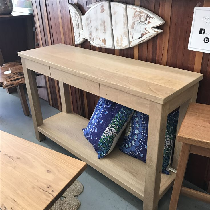 American oak hall table with the natural raw look finish by Wildwood Designs is available now at our Stanmore store