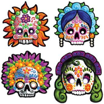 Amazon.com: Day Of The Dead Masks Party Accessory (1 count) (4/Pkg): Toys & Games