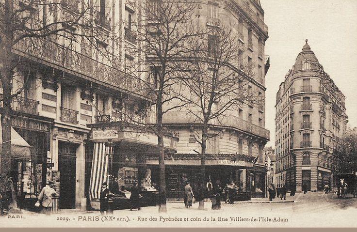 La rue des Pyrénées au niveau de la rue Villiers-de-l'Isle-Adam, vers 1900 (Paris 20ème)