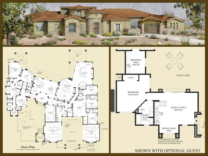 Love this unusual tuscan home with optional casita d r for Casita house plans
