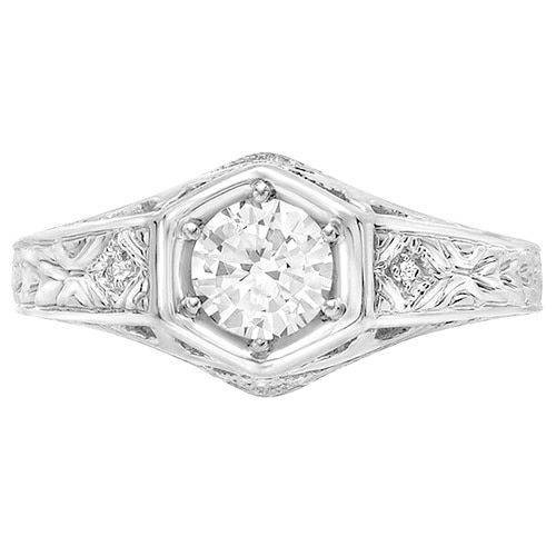 Sterling Silver Round-cut Moissanite Diamond Accent Engagement Ring   Overstock.com Shopping - The Best Deals on Moissanite Rings