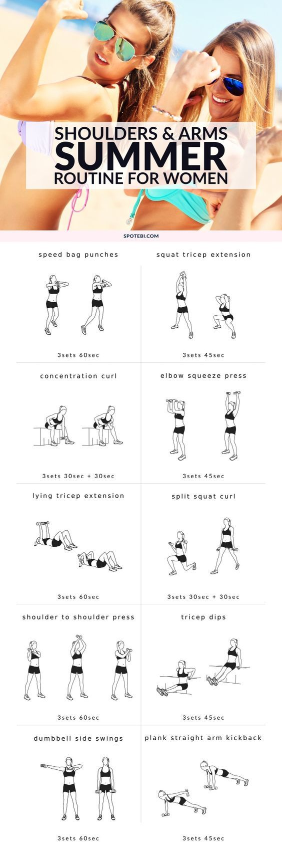 Get your upper body fit and toned for Summer with this shoulders and arms workout for women. A complete 30 minute circuit that combines cardio and strength training moves to create a well-rounded, fat-burning routine. http://www.spotebi.com/workout-routines/shoulders-arms-workout-for-women/ #weightlossbeforeandafter