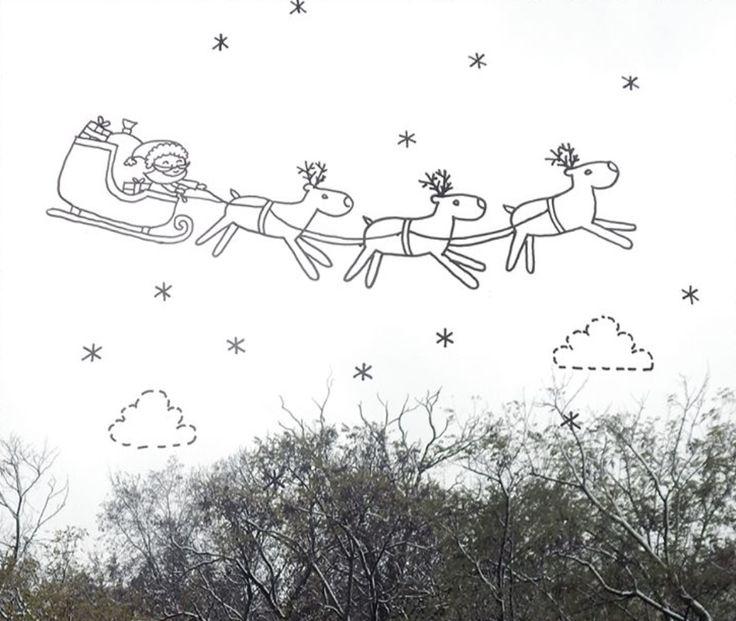 Kerstman slee #raamtekening door Moon Manufacture.