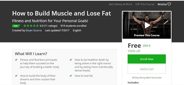 How to Build Muscle and Lose Fat Free Udemy Course              Requirements    Be interested in setting fitness or nutritional goals  Hav...