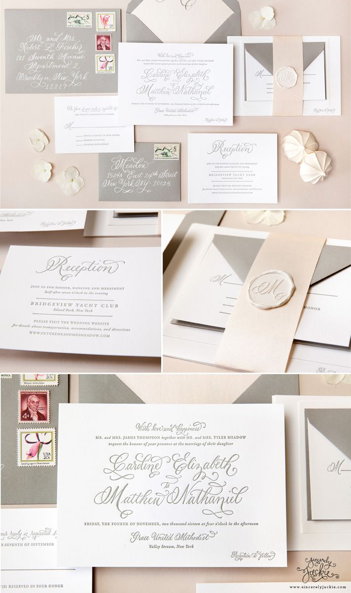 Classic grey letterpress wedding invitations by Sincerely, Jackie with calligraphy by Everly Calligraphy. Blush pink and grey letterpress wedding invitations