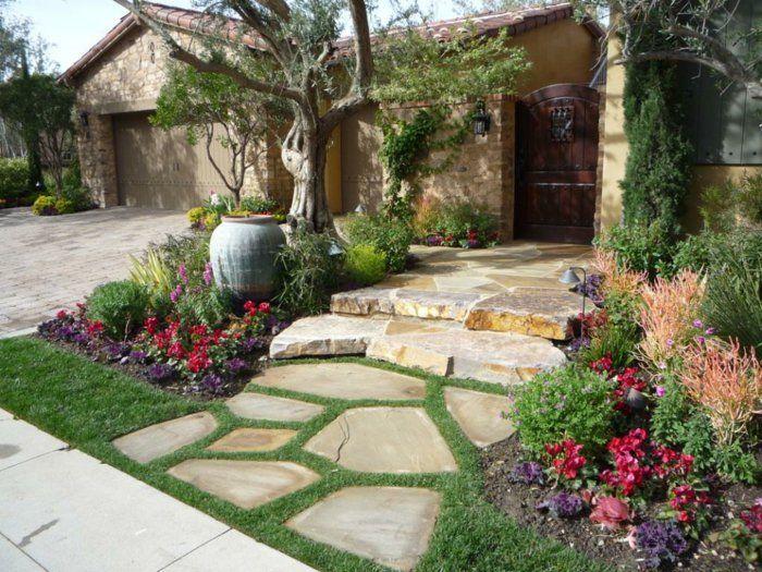 Superb vorgartengestaltung gartensteine eingang blumen