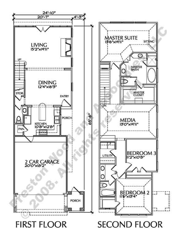 Two story townhouse floor plans narrow yahoo image for Three story townhouse floor plans