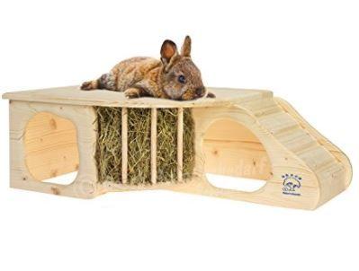 Kaninchenliebhaber aufgepasst! Bei dieser Nagerhöhle XL aus naturbelassenem Massivholz mit Treppe zur Liegeterasse, integrierter Heuraufe, großen Eingängen und gerundeten Ecken machen Sie Ihren Haustieren eine besonders große Freude.