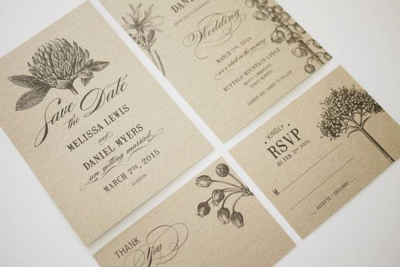 Botanic Garden Wedding Invitations Printable by ThreeEggsDesign, $79.00