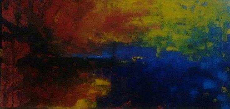 Abstract painting, mixed technique, acrilic, pastel on drywood. 150 cm x 58 cm By Oscar Cardenas.