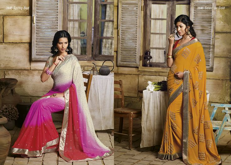 This party wear georgette saree is having combination of three color with elegant work AND Crome yellow color chiffon saree with golden border is looking perfectly match for the occasions