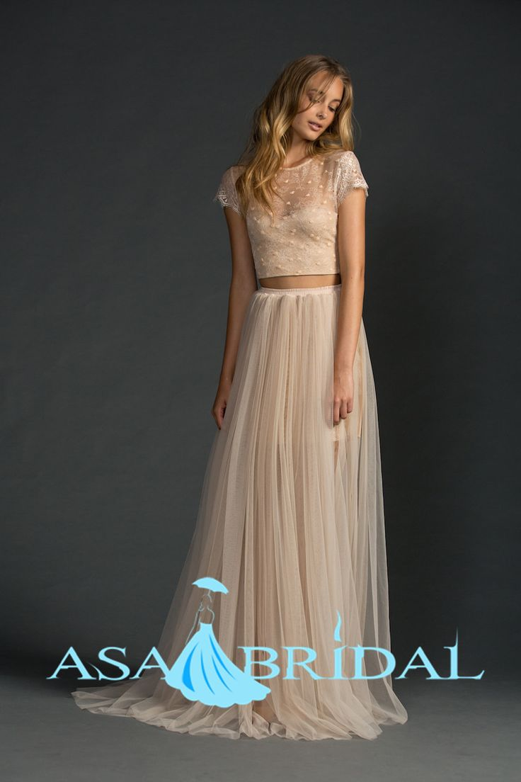 Buy vintage two piece bridal gowns for Cocktail dress for beach wedding