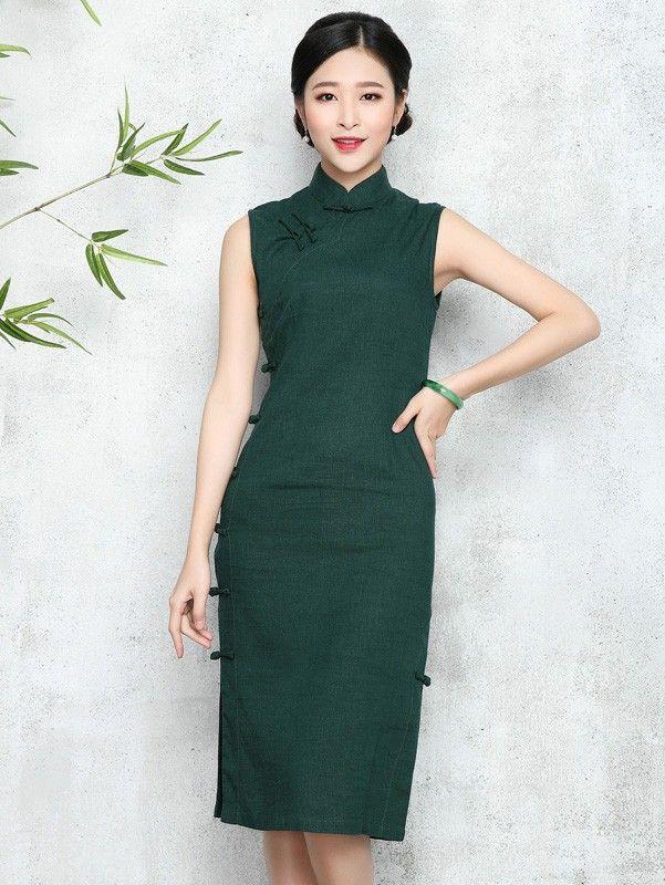 New Day Linen Qipao / Cheongsam Dress