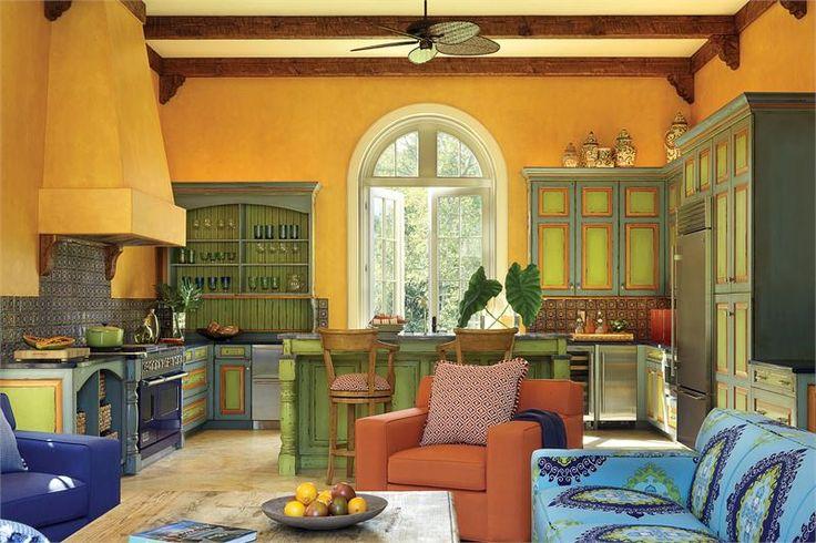 mediterainian colorful kitchen distressing - Google Search
