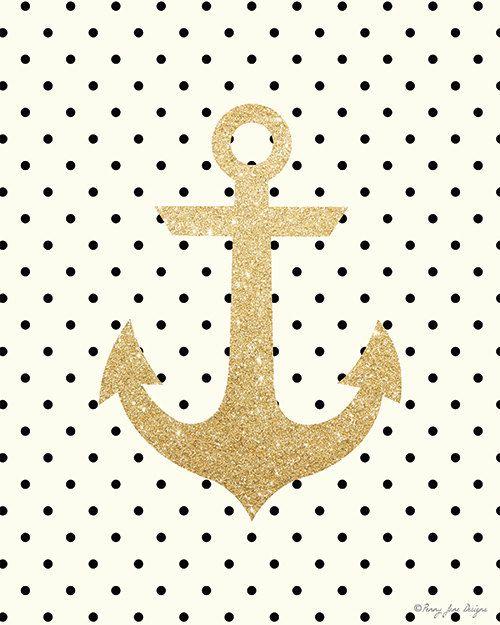 Gold Glitter Anchor Printable Art by PennyJaneDesign on Etsy