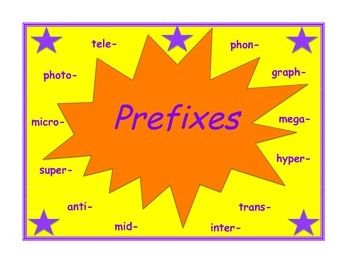 "Prefix Packet (anti-, graph-, hyper-, inter-, mega-, micro-, mid-,  phon-, photo-, super-, tele-, trans-) Includes meanings, examples, foldables, a suffix quiz, and a suffix ""Bingo"" game. CCSS and SOL aligned."