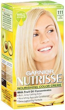 Garnier Nutrisse Nourishing Color Crème 111 White Chocolate.   This what I use to tone my bleached hair.  :)