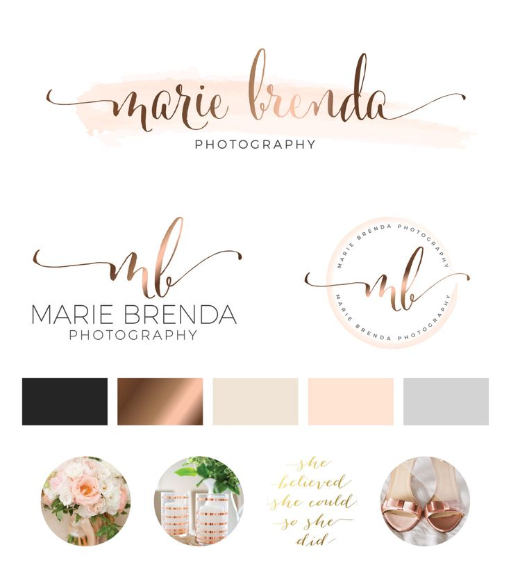 logo design custom logo design rose gold branding kit logo design