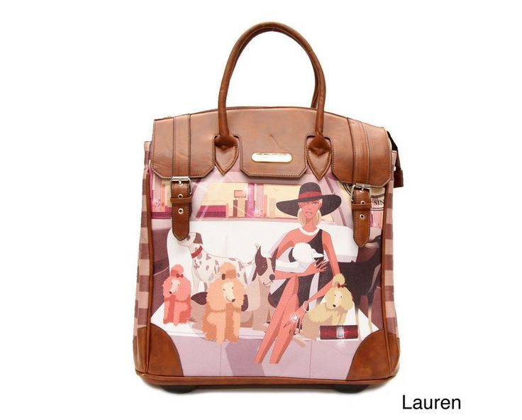 Lauren Rolling Tote Nicole Lee Travel Bag Dogs Stripe Leather Business Briefcase | eBay