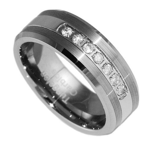mens tungsten wedding ring 8mm tungsten carbide wedding band cz bridal men jewelry 5804
