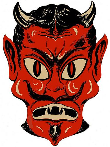 The Devil Yu Say! These Paper Masks sold at the Five and Dime for Under ten cents. You had to recut the eye holes, so Yu could see, and they were held on by a a very thin rubber band and staples. Vintage halloween mask, yikes!
