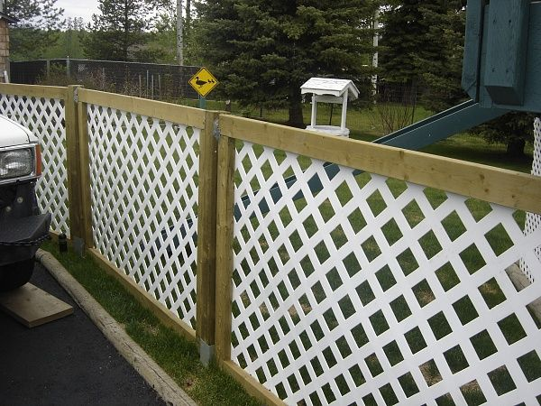 We used 2 foot post spikes, but you could use deck blocks which are cheap. We made 8 X 4 panels with viny lattice that we stapled to the panel. Then used cheap brackets screwed to posts to slide the panels in.