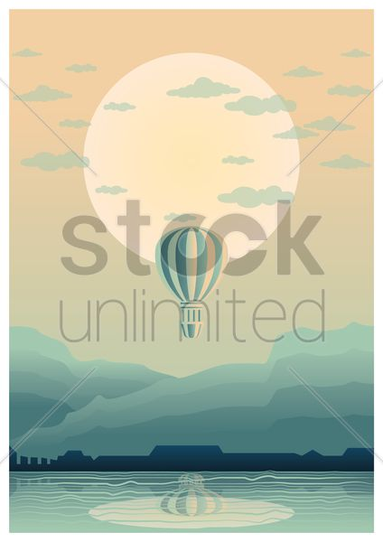 hot air balloon poster vector graphic