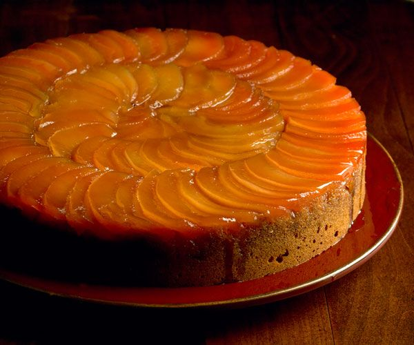 Caramelized Pear Upside-Down Cake.   This cake is delicious warm or at room temperature.