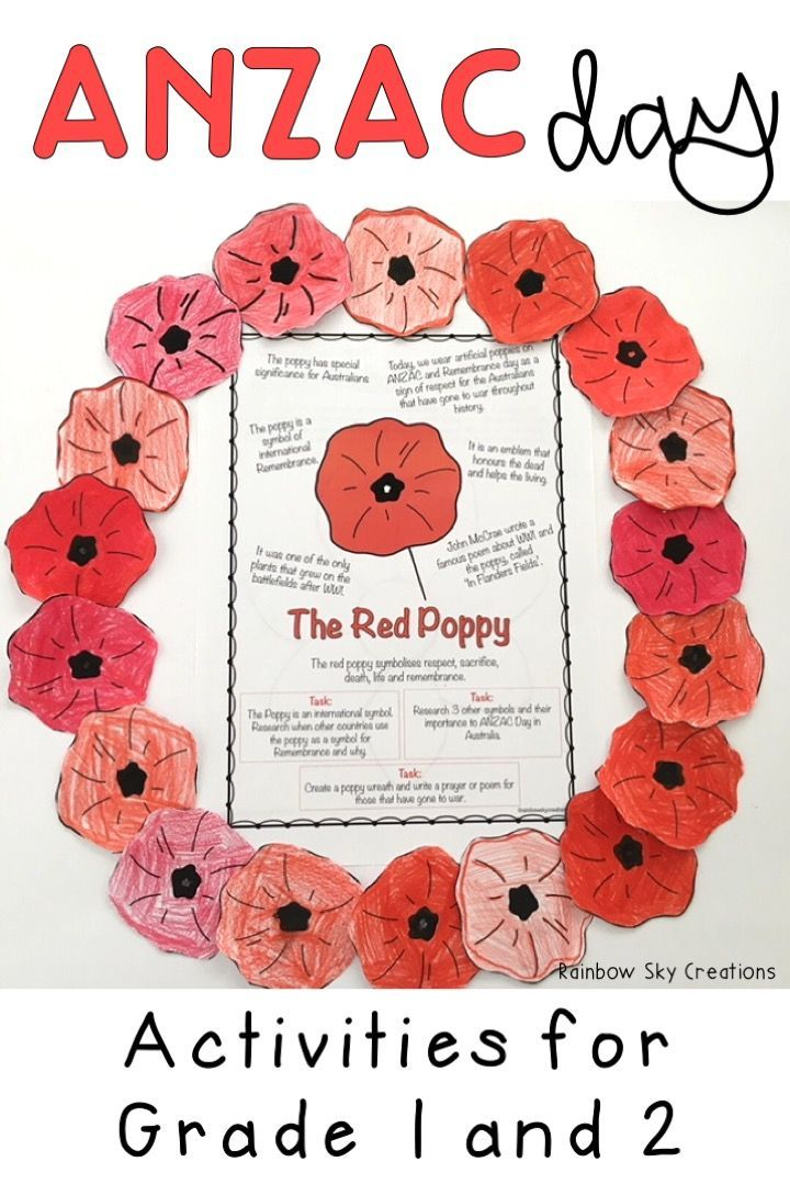 Check out these ANZAC day activities for children. They include poppies to wear / create a class wreath, anzac biscuit recipe, writing tasks and more. Worksheets are designed for kids to learn about the Last Post and the soldiers and heros that attended world wars for Australia. Suitable for Year 1 and Year 2 students {Grade 1, Grade 2, homeschool). Click the link to see full list of inclusions #rainbowskycreations