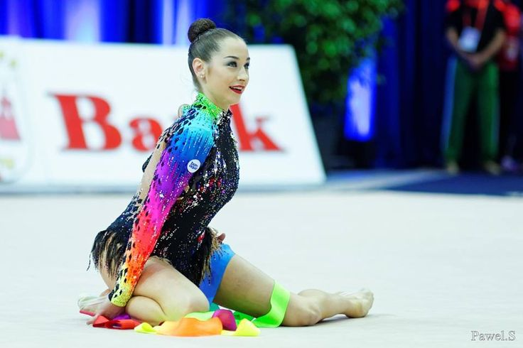 Katsiaryna Halkina (Belarus) got 17.350 points for RIBBON in all-around finals at Olympic Games 2016