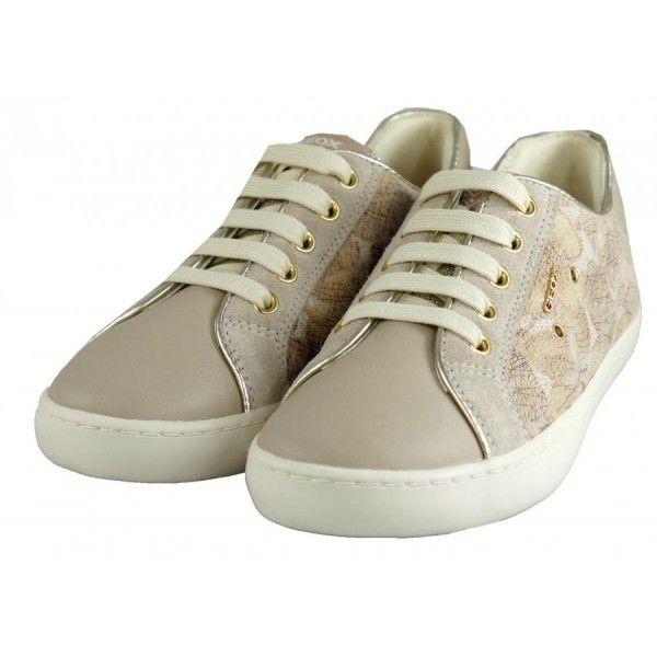 Sneakers-ragazza-Geox #scarpa #bambina #pelle #beige #moda #tendenza #collezione2017 #Geox
