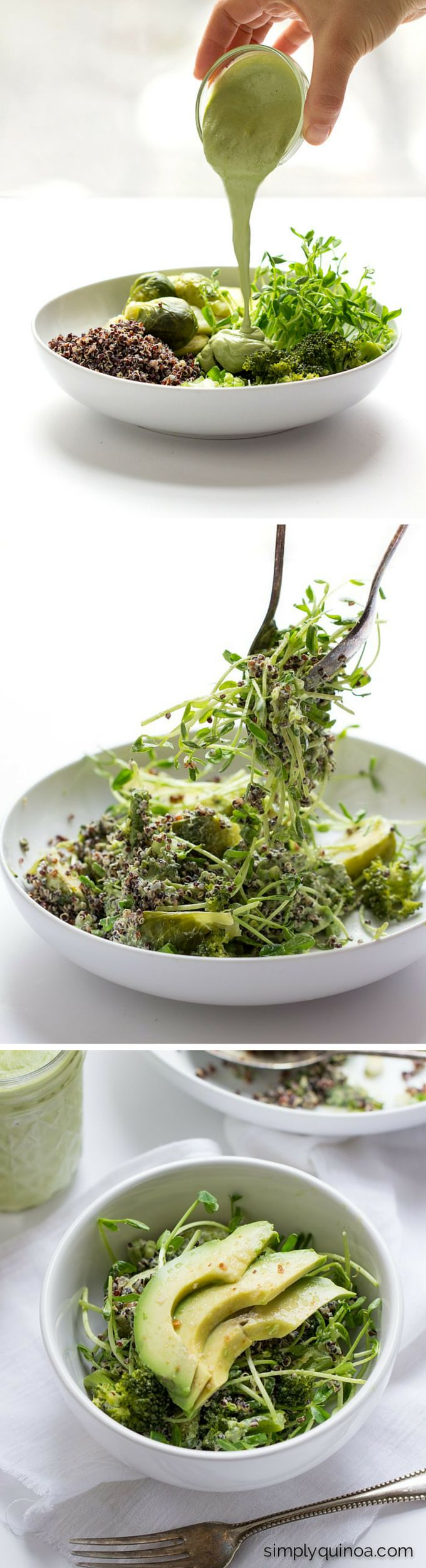 I've been needing a recipe to brighten my day! This healthy Green Goddess salad uses BLACK QUINOA which adds a perfect crunch and texture. It's also loaded up with lots of green veggies and is smothered in a homemade (and vegan!!) green goddess dressing. So good!