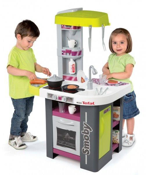 SMOBY 311001 elektronická kuchynka TEFAL STUDIO BBQ fialovo-zelená s opečenými potravinami a grilom zvuková + 29 doplnkov 100 cm výška