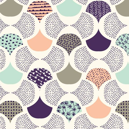 Scalloped Edge | Ivory :: Koi by Rashida Coleman-Hale for Cloud9 Fabrics