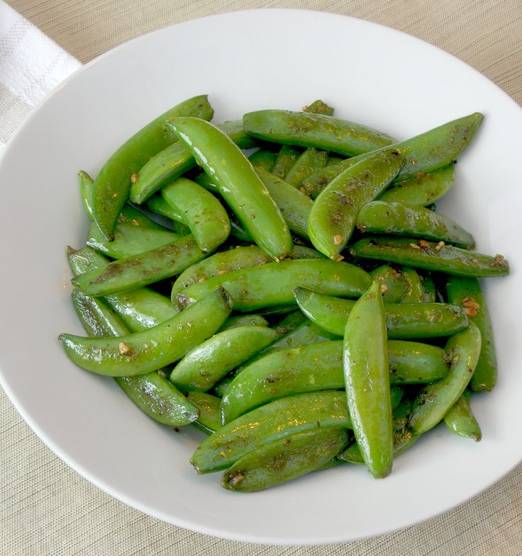 Sugar snap peas with garlic is a simple side-dish that takes 10 minutes to prepare.