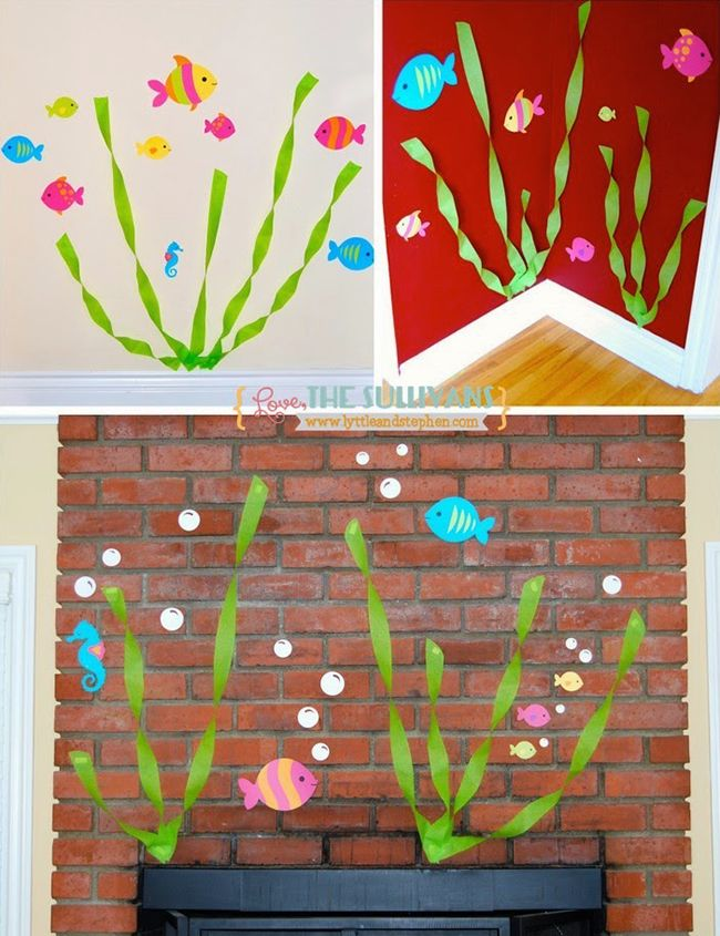 Seaweed wall decor made from streamers