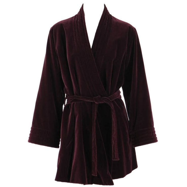 1970s Yves St Laurent YSL Le Smoking garnet velvet wrap jacket | From a collection of rare vintage jackets at https://www.1stdibs.com/fashion/clothing/jackets/