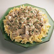 Always a family favorite, this classic dish of quickly sautéed beef and onion in a creamy mushroom sauce is perfect over hot cooked noodles. Garnish with fresh parsley for a colorful table presence and serve with a family favorite green vegetable.