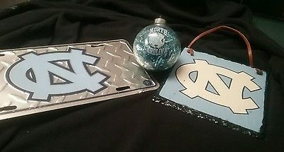 North Carolina Tar Heels, Glass Ball, NC Liscence plate, ang a plack
