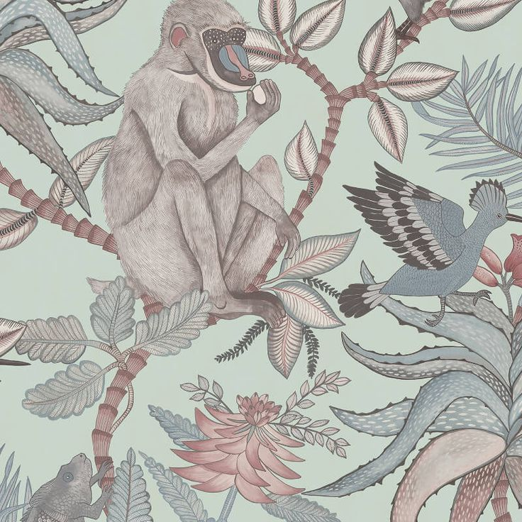 An exciting African jungle inspired wallpaper design in delightful duck egg colour from the Ardmore Wallpaper Collection. Available at Go Wallpaper UK
