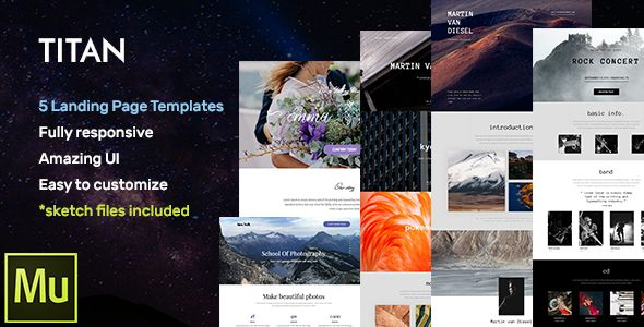 Titan - Responsive Muse Templates for Landing Page + Gallery Widgets