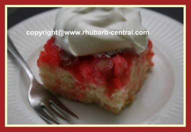 This Rhubarb Upside Down Cake Recipe and pictures, like a Dump Cake, is VERY QUICK and EASY, using a white or yellow cake mix, and the taste is scrumptious!