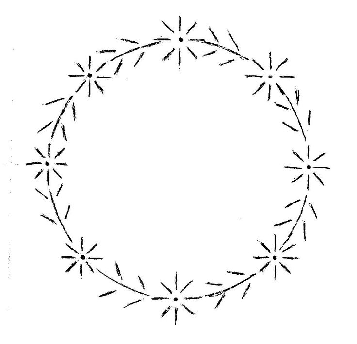 Simple Daisy wreath embroidery pattern for kids