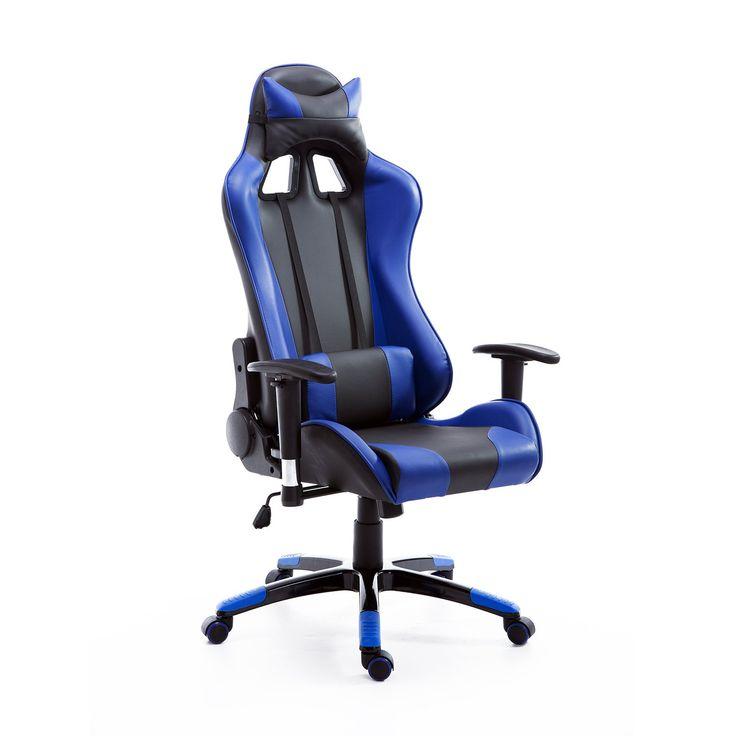 HomCom Executive Gaming Racing Reclining Office Chair - Blue/Black