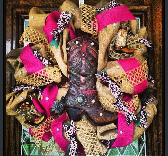 Rustic Western Burlap Boot Wreath by SissyGirlsCreations on Etsy