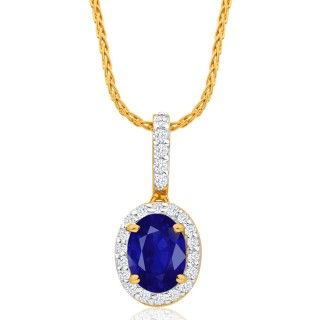 Pendant, sapphire and diamonds set pendant, online jewellery, gold, grahams jewellers