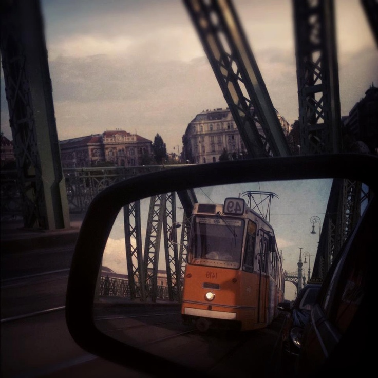 Tram on a bridge in Budapest