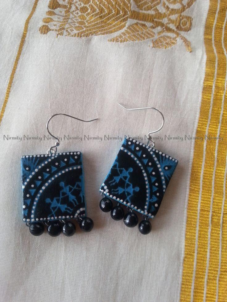 Warli art terracotta jewelry,turquoise polymer clay earrings,terracotta jewellery,indian jewelry,warli art dangle earrings-custom colors by NIRMITY on Etsy