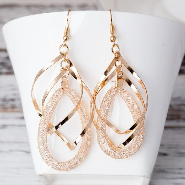 NEW Arrival fashion handmade earrings 3 layers round Bohemia crystal Drop Earring women